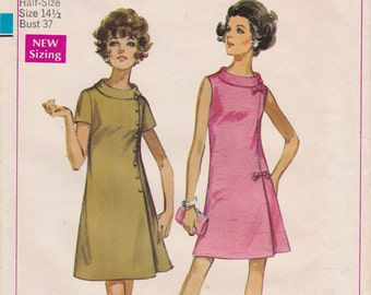 FF 1960s Easy Jiffy Dart Fitted Dress Vintage Sewing Pattern [Simplicity 8159] Roll Collar, Size 14.5, Bust 37, UNCUT