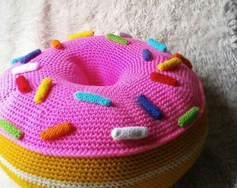 Giant Donut Floor Pouf Or Mega Donut Floor Pillow L Room/ Dorm Decor L MADE