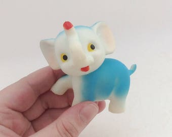RARE 1970's Vintage Rubber Elephant Cutie Toy Collectible- Made in Japan Kitsch Kawaii Retro