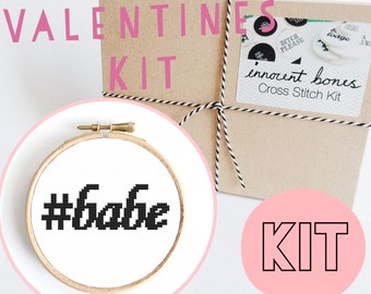 Hashtag BABE Modern Cross Stitch Kit - easy chart design guide & supplies- valentines design - embroidery kit bad taste popculture