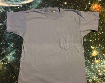 Vintage Plain Blue Super Soft Pocket T-Shirt