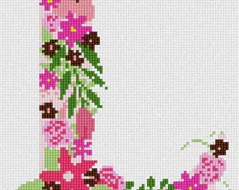 Needlepoint Kit or Canvas: The Letter L Flowering