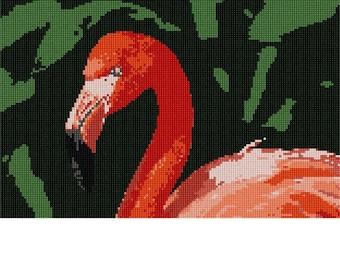 Needlepoint Kit or Canvas: Flamingo Up Close