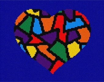 Needlepoint Kit or Canvas: Heart Stained Glass