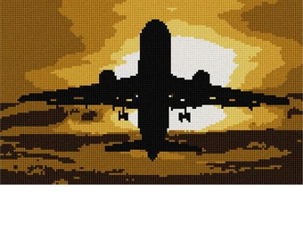 Needlepoint Kit or Canvas: Jet Silhouette