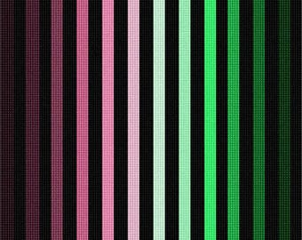 Needlepoint Kit or Canvas: Ombre Colorbars Rose Green
