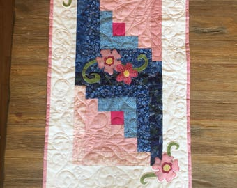Pink and Blue Table Runner with Floral Applique
