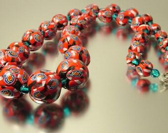 Antique/ estate, Art Deco 1920s/ 1930s rare red millefiori Murano Venetian bead glass costume necklace - jewelry jewellery
