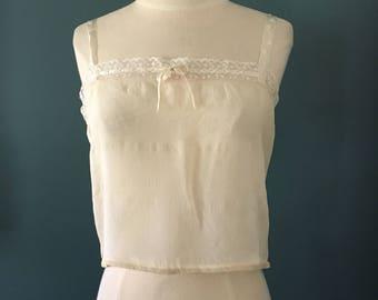 Vintage 1920s Silk Ivory and Lace Bralette, Antique Bra, 1920s Underpinnings, Silk Under Garment
