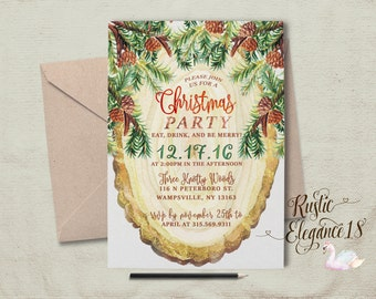 Christmas Party Invitations.Pinecones and Foliage.Christmas Party Invites. Modern Birch Slice Invite.