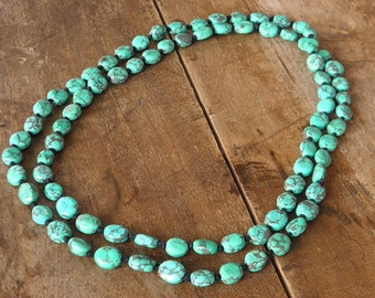 Long necklace - Bahia Del Sol - turquoise - boho chic - hippie chic - ethnic necklace - turquoise beads - tibetan beads - boho jewels