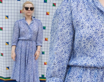 ROSETTE Blue and White 1980s Shirt Dress Fit and Flare Floral Print Sheer Dress
