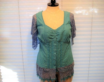 Aqua blue lace tunic, refashion summer top, gypsy boho top, bohemina lace shirt, upcycled clothes, large to extra large, repurposed clothes