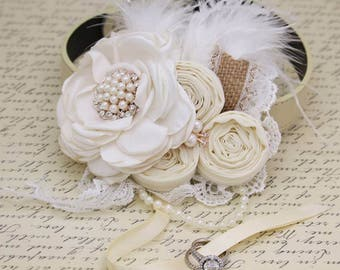 Ivory and white Flower dog Ring Bearer collar wedding, Burlap, Feather, Lace