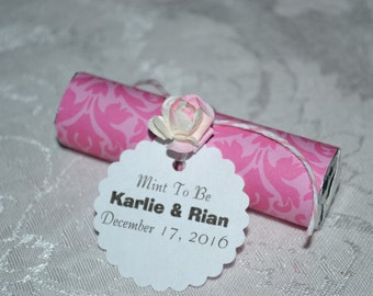 Mint Roll Wedding Favors // Mint Wedding Favor // Mint to Be Wedding Favors -- Pink -- Quantity 25