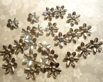 36 Silverplated 14mm Flower Bead Caps