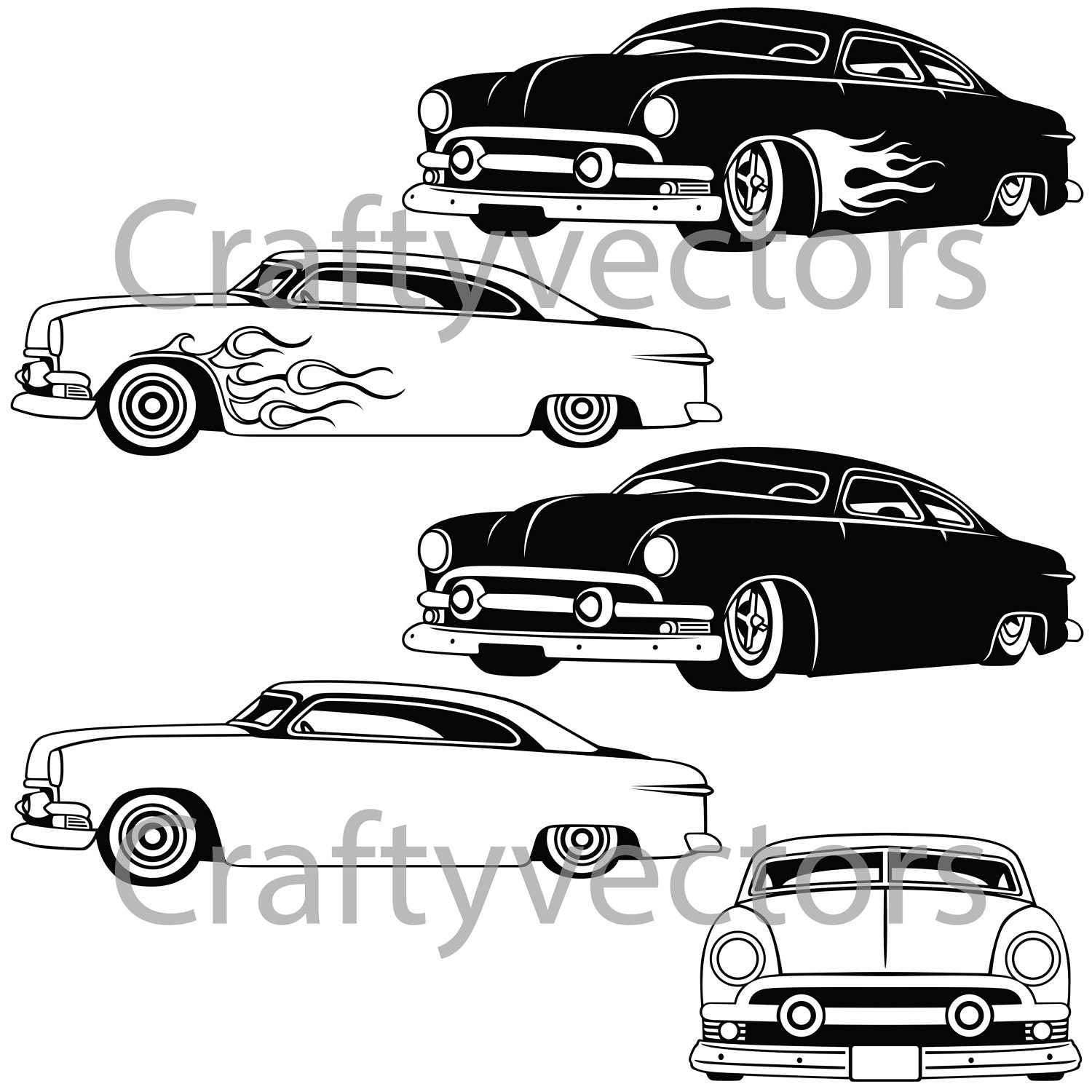 ford shoe box chop top 1951 from craftyvectors on etsy studio
