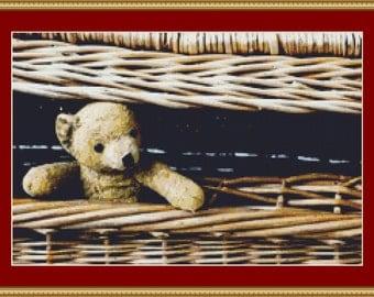 Old Teddy Bear Cross Stitch Pattern