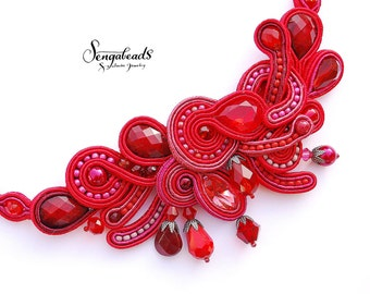 Soutache necklace. Red necklace. Statement necklace. Soutache. Embroidered necklace. Beaded necklace. Couture necklace. Crystal necklace.