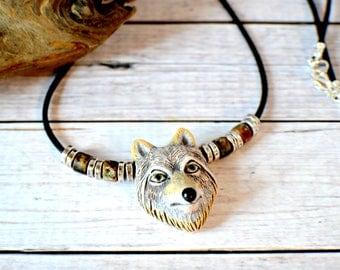 Men's Wolf Necklace, Wolf Jewelry, Gray Wolf Pendant Necklace, Animal Necklace, Animal Jewelry, Silver Wolf Spirit Animal, Men's Wolf Charm