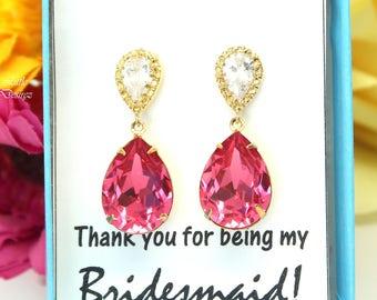 Pink Earrings Gold Earrings Fuchsia Earrings Hot Pink Earrings Swarovski Crystal Cubic Zirconia 16k Gold Plated Magenta Earrings RP31P