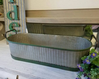 Galvanized Planter with Handles  Long Planter with Green Edges