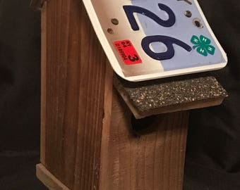 Homemade Wooden Birdhouse with Kentucky License Plate Roof