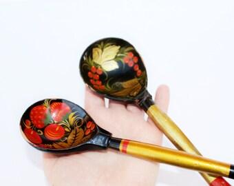 Khokhloma spoons Khokhloma spoon set of 2 Russian folk art Vintage khokhloma Handpainted wooden spoon Vintage kitchen decor Farmhouse