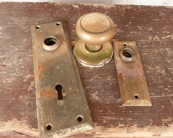 Vintage Brass Door Knob And Face Plates Steampunk Altered Art Supply