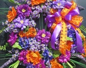 Spring Summer Door Wreath, Spring Summer Wreath, Luxury Wreath, Door Wreath, Wreath for Front Door, Bright Orange Purple Colors