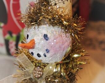 Teddy Snow: upcycled salt shaker snowman Christmas ornament/decoration