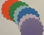 """Extra Large Scalloped Flowers, 3"""", 12 die cut punches, card making supplies, paper crafting, pink, red, orange, yellow, green, blue, purple"""