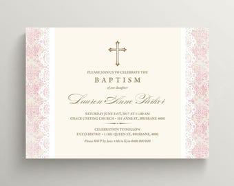 Christening Invitation \ Baptism Invitation \ Girl Invitation \ Pink Invitation \ Printable Invitation \ Vintage (CR39)