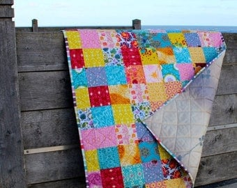 Spring Quilt Sale Modern Patchwork Lap Quilt Boho Flannel Quilt, Sofa Throw or Baby Blanket