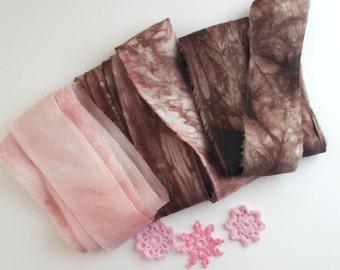 Hand Dyed Silk Ribbon -  Felting  Art Supplies - Chocolate Rose- 6m