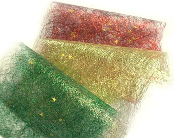 Sparkling Craft Paper- sparkly decorative paper - red green gold - Card Making Supplies