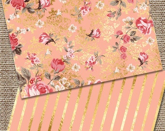 Foil Note Cards, Foil Stationary, Coral and Gold Stationary, Shabby Chic Note Cards, Gold Foil Note Cards, Foil Shabby Chic Note Cards