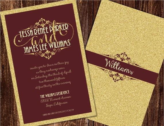 Burgundy And Gold Wedding Invitations: Burgundy And Gold Wedding Invitations Burgundy Wedding