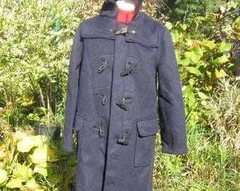 SALE NEW Gloverall 1970s Duffle Coat NOS Dark Blue  Made in England Wool Authentic Horn toggle Us10 Uk Eur38  Hooded Monty Stadium Coa