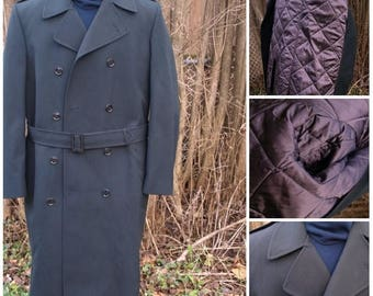 SALE NOS New 1989 Canadian Forces Green Gabardine Wool Trench Coat, Removable quilt liner, Stated size 40 L with 48'' chest Winter military