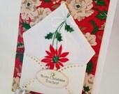 Embroidered Christmas Handkerchief Poinsettia Keepsake Gift Mother Teacher Co Worker Happy Holidays Hankie Card