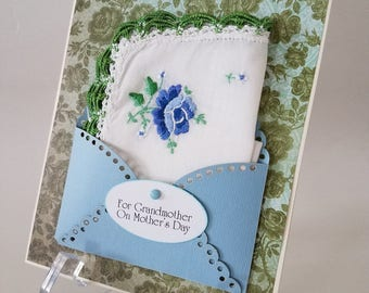 Mother's Day Vintage Crochet Edge Embroidered Handkerchief Grandmother Blue Green Roses Keepsake Gift Happy Tears Hanky Card