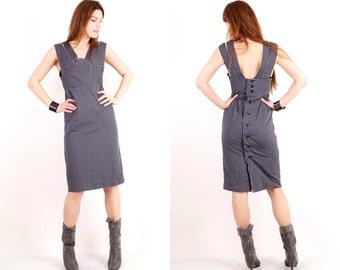 Vintage Grey Dress / Striped Dress / Sleeveless Dress / Medium Dress / Midi Dress / Day Dress / Official Dress /Gray Dress / Button Up Dress
