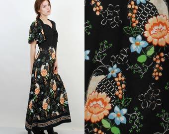 70s Maxi Dress / Maxi Long Dress / Maxi Floral Dress / Boho Dress / Diolen Loft / XL Maxi Dress / Vintage Dress XL / Extra Large Dress