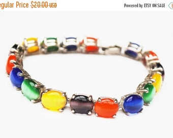 Colorful Cats Eye  Link Bracelet Fiber optic glass cabochon Silver Plated