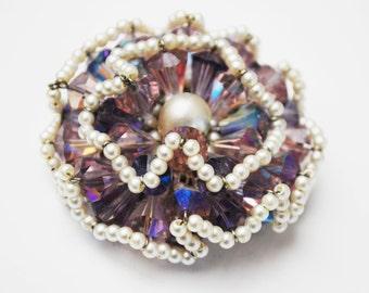 Vendome Brooch - Purple Crystal Rhinestone -  faux pearl seed  Bead - signed - Floral Atomic  - Aurora borealis - Cluster bead pin