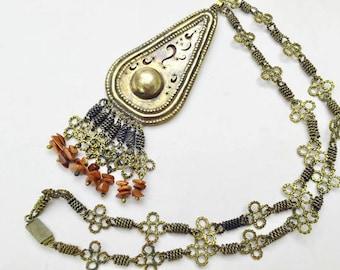 Brass Pendant Necklace - Maroon Goldstone Tassel beads - Boho -India -