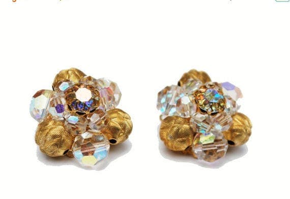 Crystal and Gold Cluster earrings Pat Pend AB glass clip on earrings