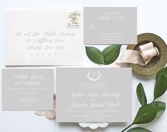 Calligraphy Wedding Invitation, Gray, Blush, Wedding Monogram, Monogram Invitation, Wedding Invitation, Wedding Invitations, Elegant