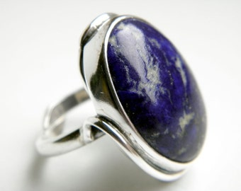 Blue - lapis lazuli sterling silver ring - adjustable